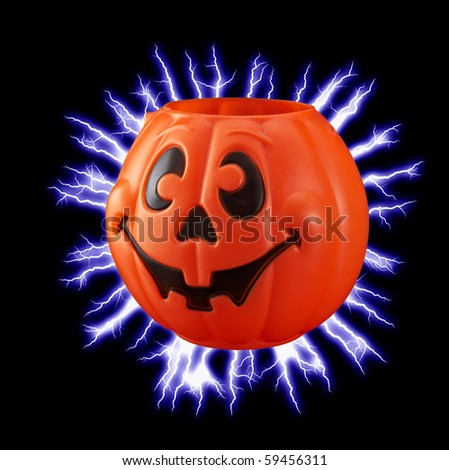 Pumpkin with neon background for your Halloween fun - stock photo