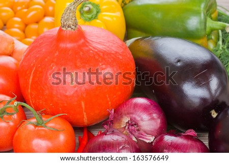 Pumpkin with vegetables   -  tomatoes, onion and eggplant