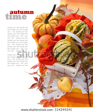 Pumpkins and Apples - stock photo
