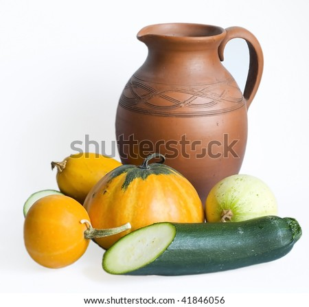 pumpkins and marrow isolated on white - stock photo