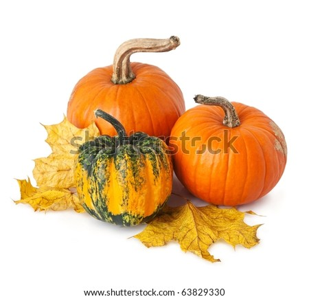 Pumpkins and yellow leaves, isolated on white. - stock photo