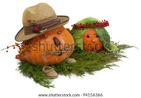 Pumpkins as husband and wife. Handicraft from Autumn gifts - stock photo