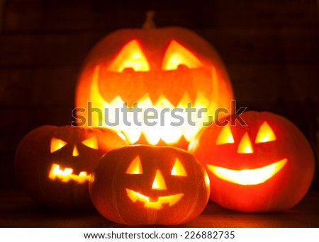 Pumpkins at Halloween - stock photo