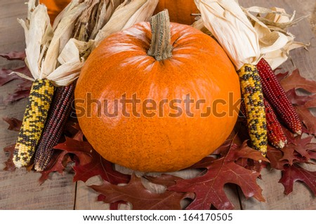 Pumpkins fall leaves and decorative corn
