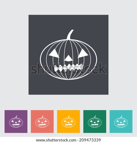 Pumpkins for Halloween. Single flat icon on the button.