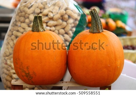 Pumpkins for sale in a greengrocery