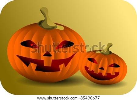 Pumpkins. Illustration of two smiling pumpkins.