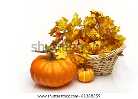 Pumpkins in a wicker basket surrounded by fall leaves - stock photo