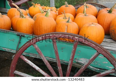 Pumpkins On An Old Wagon For Sale - stock photo
