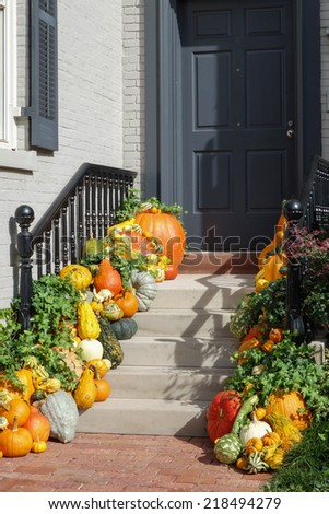Pumpkins on porch in Thanksgiving days - stock photo