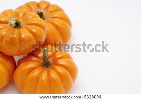 Pumpkins over white background for halloween