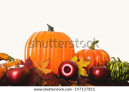 Pumpkins, rosy apples and squashes laid out on a bed of leaves.