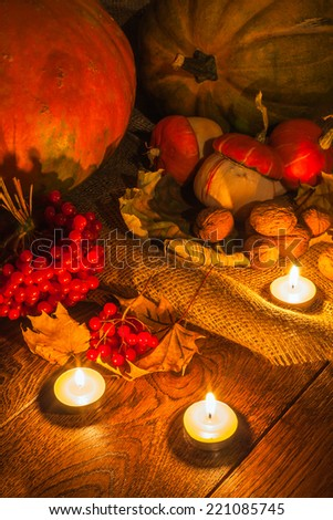pumpkins still life vert - stock photo
