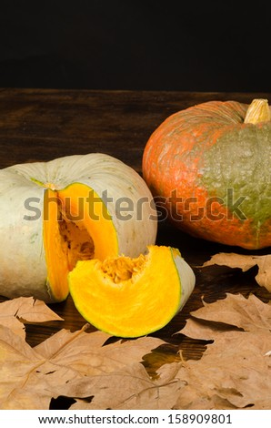 Pumpkins surrounded by autumn leaves,a seasonal still life