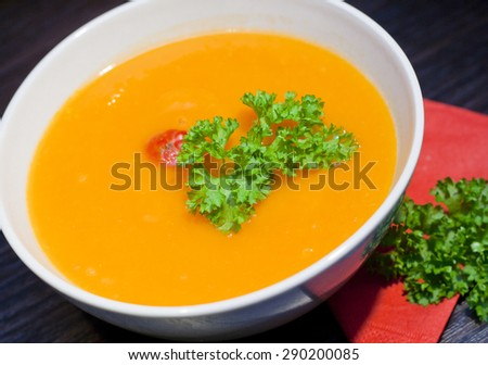 pumpkins vegetarian soup with twig of parsley in white bowl on dark background - stock photo
