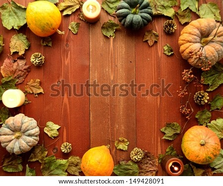 Pumpkins with candles.frame.image of halloween season. - stock photo
