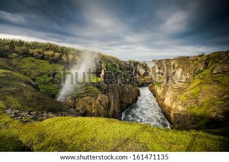 Punakaiki Blow Holes, West Coast, New Zealand  - stock photo