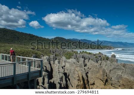 Punakaiki New Zealand Pancake rocks - stock photo