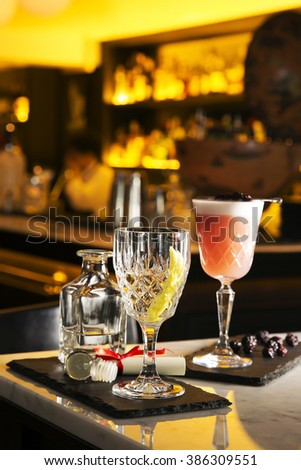 Punch and cocktail  drink serve on bar table