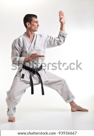 punch.figure in the karate fighting stance on a white background. - stock photo
