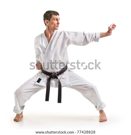 punch.figure in the karate fighting stance on a white background.hand-to-hand fighting - stock photo