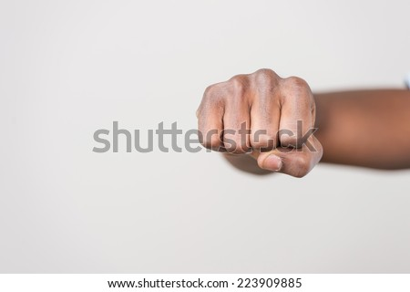 punch fist isolated on white background. Man hand sign isolated on white background