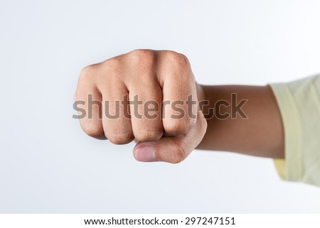 Punch fist on white background, Strong fist on white background.