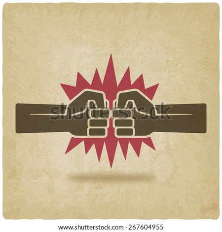 punch fists fight symbol old background -  illustration - stock photo