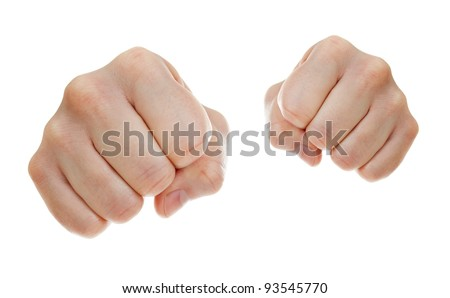 punch fists isolated on white - stock photo