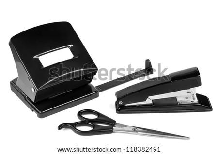 Puncher, scissors, stapler - stock photo