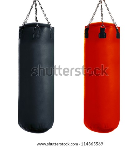 Punching bag for boxing or kick boxing sport, isolated on white background. - stock photo