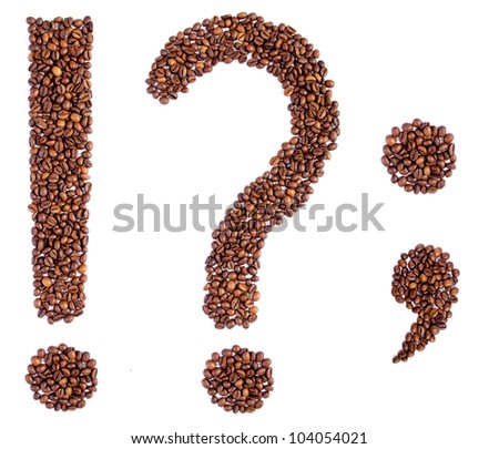 punctuation marks from coffee beans. isolated on white. - stock photo