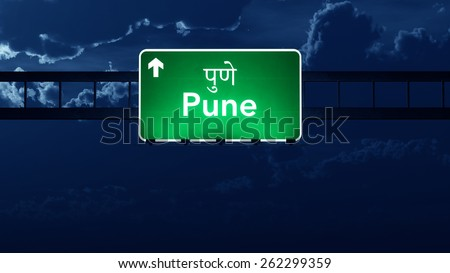 Pune India Highway Road Sign at Night - stock photo