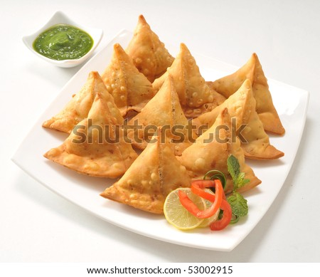Punjabi Samosa with Chutney - stock photo