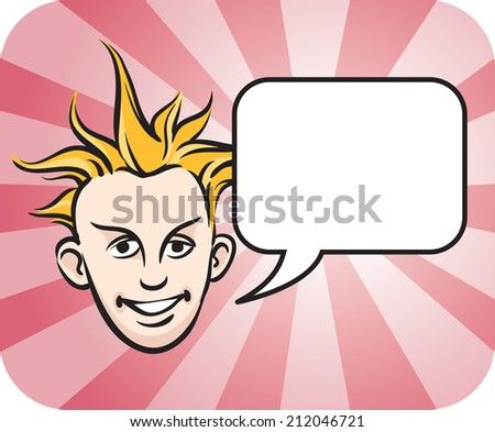 Punk blond face with speech bubble - stock photo