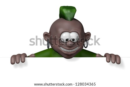 punk cartoon character with blank white board - 3d illustration - stock photo