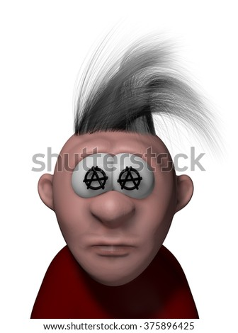 punk cartoon guy with anarchy symbols - 3d illustration