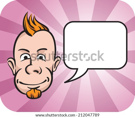 Punk face with speech bubble - stock photo
