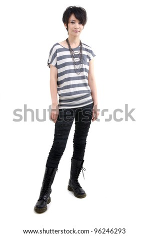 Punk girl full body on white background - stock photo