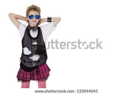 Punk kid in fancy dress with hands behind head over white background