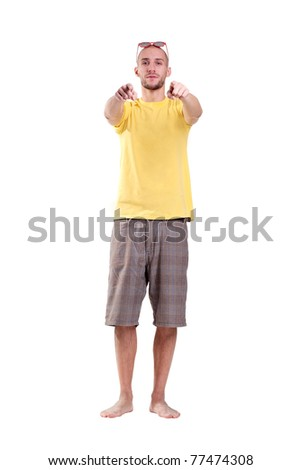 punk on a beach shows you finger - stock photo