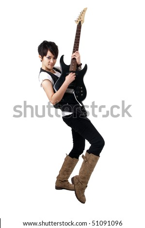 Punk Rockstar playing guitar isolated in white - stock photo