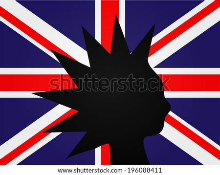 Punk Silhouette over the United Kingdom Flag - stock photo