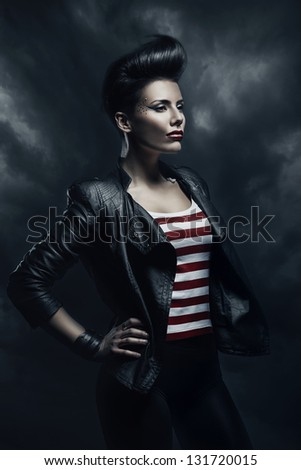 punk woman in the fog - stock photo