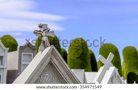 PUNTA ARENAS CEMETERY-DEC 1, 2015: With its mausoleums and its lawn, it is one of the most visited places by those who wish to learn about the history of the city. (CHILE) Cemetery cemetery cemetery