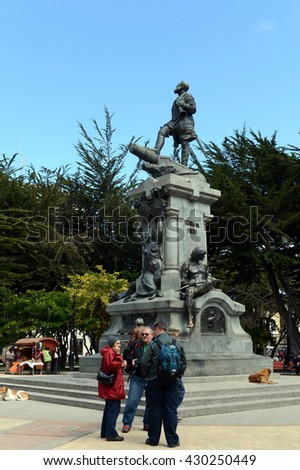 PUNTA ARENAS, CHILE - NOVEMBER 21,2014: A monument to Fernando Magellan in Punta arenas.The administrative center of the province and Magallanes region Magallanes-and-La-Antarctica-Chilena.