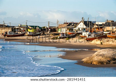 Punta del Diablo Beach, popular tourist site and Fisherman's place in the Uruguay Coast - stock photo