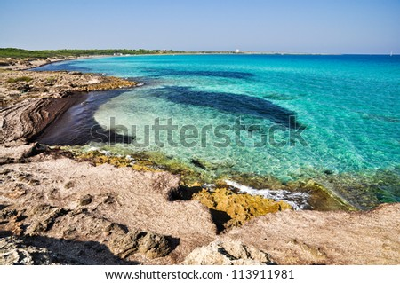 Punta della Suina beach in Salento, Apulia. Italy. - stock photo