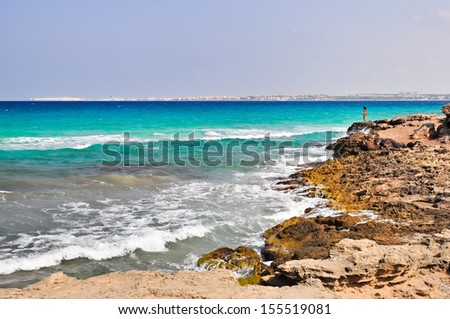 Punta della Suina's beach near Gallipoli's town in Salento. Apulia. Italy.
