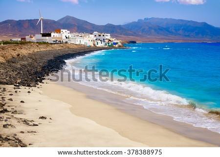 Punta Jandia Fuerteventura and Puerto de la Cruz village at Canary Islands - stock photo